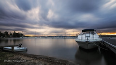Cloudy sunset (The0dora Photography) Tags: longexposure boat valentine lakemacquarie omdem1 the0doraphotography mzuikof281240