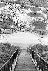 Playground at frenchwood (Man with Red Eyes) Tags: park slr monochrome analog circle blackwhite steps symmetry preston hp5 lookingdown nikkor ilford millerpark nikonf6 f6 plyground avenham 50mmf12 silverhalide frenchwood v850 td201