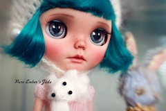Watchers (pure_embers) Tags: uk cute bunny girl hat scarf hair photography doll pretty dolls teal watching jade short fox blythe neo custom pure takara embers jodiedolls pureembers pureembersjade