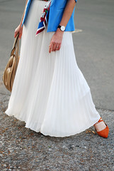 SS16 White pleated maxi skirt, white chiffon top, blue blazer, scarf as belt, orange lace up flats | Not Dressed As Lamb (Not Dressed As Lamb) Tags: white fashion style blogger vert fashionista jacques edit ss16