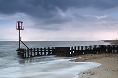 (Andy Bracey -) Tags: sea seascape beach landscape coast sand nikon waves norfolk stormy motionblur coastal northsea marker breakwater seadefence caister bracey caisteronsea leefilters d700 andybracey littlestopper