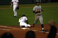 ...and Hanley comes off the bag (ConfessionalPoet) Tags: baseball ss redsox bradmiller shortstop 1b firstbase baserunner hanleyramirez firstbaseman