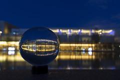 Der Blick in Kugel (Jrgenshaus) Tags: deutschland essen nrw spiegelung quartier blaue glaskugel stunde thyssenkrupp ruhrgebiert canonef1635mm14lis