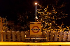 Canons Park Station (LFaurePhotos) Tags: trees london station night outdoor platform londonunderground middlesex roundel canonspark photoborder londonboroughofharrow