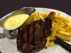 Rib eye steak (garydlum) Tags: au australia chips steak canberra macquarie australiancapitalterritory hollandaisesauce