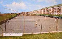 Butlins Bognor Regis - Tennis Courts (trainsandstuff) Tags: butlins bognorregis holidaycamp postcard retro vintage old history archival holidaycentre