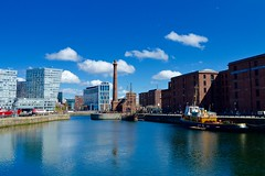 Canning Dock (rustyruth1959) Tags: city blue chimney sky water clouds liverpool buildings reflections boats dock nikon pumphouse merseyside nikond3200 canningdock merseysidemaritimemuseum strandstreet internationalslaverymuseum hartleyquay