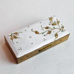 Vintage Brass / Guilloche Enamel Ladies' Cigarette Case (karalennox) Tags: vintage box cigarette etsy brass trinket enamel guilloche