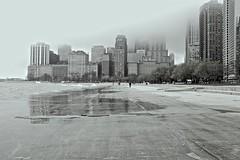Lost (ancientlives) Tags: travel usa mist chicago monochrome fog landscape illinois spring downtown cityscape fuji sunday may streetphotography lakemichigan lakeshore goldcoast oakstreetbeach 2016 23mm lakefronttrail fujix100s