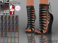 ::ROC:: Doris Heels (ROC FASHION) Tags: red woman white black hot rome sexy girl up leather shop female nude roc back high cool shoes punk pumps toe lace platform khaki lara footwear sling heel peep stiletto ankle wedge rigged tmp fitted maitreya slink fatpack roscee