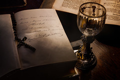 Andenken... (Tomasz Aulich) Tags: light plants glass museum book nikon wine crucifix rosary bible rood goblet ghotic