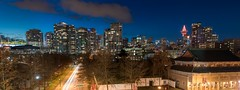 Downtown From the East (Wayneson Chan) Tags: light panorama canada building vancouver buildings twilight nikon downtown chinatown bc traffic trails d750 lighttrails bluehour bcplace harbourcentre lightstreaks downtownvancouver rogersarena 24120mmf4