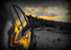 Sunset Reflection (Vassilis Online) Tags: sunset reflection sunsetreflection sunbeam colorsplash opel sunsetcolors opelcorsa ymittos sunsethour picmonkey