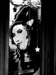 Amy (Draopsnai) Tags: portrait blackandwhite bw streetart monochrome graffiti cafe camden amywinehouse