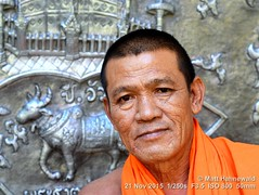 2015-11a Buddhist Monks in Thailand (25) (Matt Hahnewald) Tags: facingtheworld people portrait northernthailand chiangmaiprovince buddhism buddhistmonk orangerobe saffronrobe theravadabuddhism bhikkhu temple maechaem watjiang repousséwork eyecontact religion headshot ©matthahnewaldphotography ethnic ethnicportrait livedinface 43aspectratio oneperson fabulous horizontalformat photo photography image outstanding fantastic favourite superior excellent interesting inspirational educational primelens backdrop colour worldcultures thai character male personality monk realpeople human humanhead humanface humaneyes consent empathy encounter rapport relationship travel travelportrait environmentalportrait adult authentic awesome determined orange closeup street 50mmlens fullfaceview