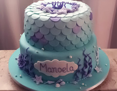 """Mar """"agitado"""" para a Festa Pequena Sereia da Manoela! (Elaine Russo - Delizie! Arte com Acar) Tags: cake mar bolo mermaid sereia"""