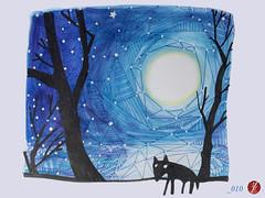 2016_010 (bornschein) Tags: blue moon black moleskine animal monster illustration painting paper stars pain peace drawing