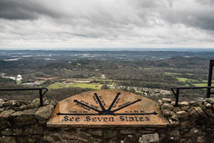 see seven states (almostsummersky) Tags: travel trees winter mountain chattanooga sign stone wall clouds forest georgia landscape outdoors virginia us view unitedstates cloudy tennessee kentucky horizon hill alabama southcarolina northcarolina stormy valley railing overlook lookoutmountain rockcity loversleap chattanoogavalley sevenstates