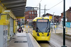 Oldham Town Centre. Manchester Metrolink. (Fred Collins afloat and ashore) Tags: manchester tram oldham lightrail metrolink tramway bombardier lrv m5000