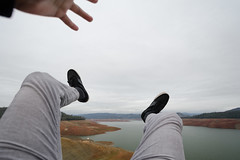 Skyfall, Pt 3/7 (Buuck Photography) Tags: california selfportrait northerncalifornia person photography legs fear vertigo adventure falling theme despair series norcal height hopeless selfie oroville terrified buttecounty lakeoroville skyfall buuckphotos buuckphotography michaelbuuck