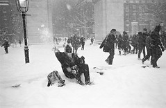 Drunk Guy Throwing Snowballs in a Blizzard (CsMusick) Tags: leica nyc snow film ice drunk 35mm blizzard