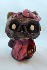 Hello Zombie! (Lino M) Tags: hello pink red sculpture brown art tongue cat diy scary paint zombie jaw kitty gross brains sculpey ribbon martins lino goo
