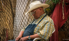2015 - MEXICO - Morelia - Market Siesta (Ted's photos - Returns Late November) Tags: sleeping portrait man male hat mexico glasses morelia denim cropped wristwatch michoacán cowboyhat vignetting mercadodesanjuan tedmcgrath moreliamichoacán tedsphotos tedsphotosmexicomorelia mercadodesanjuanmorelia