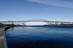 Blue (joeldinda) Tags: bridge november vacation sky cloud nikon greatlakes sidewalk railing lakehuron stclairriver bluewaterbridge d300 3002 2015 nikond300 notablebridge