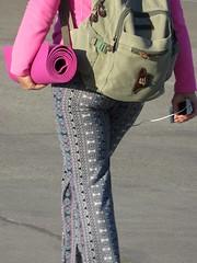 Hey YOGi ! (goldtrout) Tags: ca city pink urban woman girl yoga matt calif boardwalk pacificbeach luna16