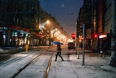 dignity (ewitsoe) Tags: street city morning winter light urban woman snow streets umbrella 35mm walking lights women cityscape snowstorm pedestrian parasol commuter snowing peopel wintery nikond80 ewitsoe erikwitsoe