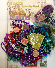 Some of the Mardi Gras throws from the Tucks parade (Monceau) Tags: beads colorful neworleans parade mardigras trinkets tucks throws kreweoftucks 38366 84knickknackortrinket 116picturesin2016