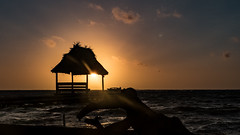 Ambergris Cay Sunrise (Gewel Maker) Tags: ocean water sunrise pier belize palm palapa ambergriscaye