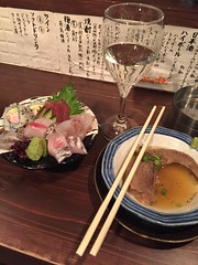 Yude Tang, Sasimi Moriawase, and Sake (Shimantogawa) at Tachinomi Jinbei