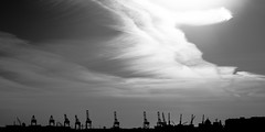 Cranes (cylynex) Tags: sunset sky blackandwhite cloud monochrome clouds outdoors newjersey nikon outdoor nj cranes jersey bigsky swirls hazy bayonne d800 sunsetnj santocommarato