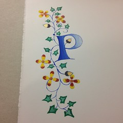 P is for Practice (Inkysloth) Tags: illustration illumination alphabet lettering calligraphy handlettering lombardic