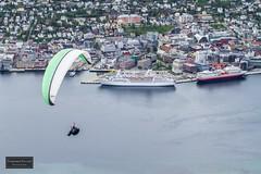 Tromsø in paraglider´s eye view (Torbjørn Tiller) Tags: norway harbor norge waterfront cruiseship paraglider tromso tromsø hurtigruten fokus msastor kongsbakken gyllenborg