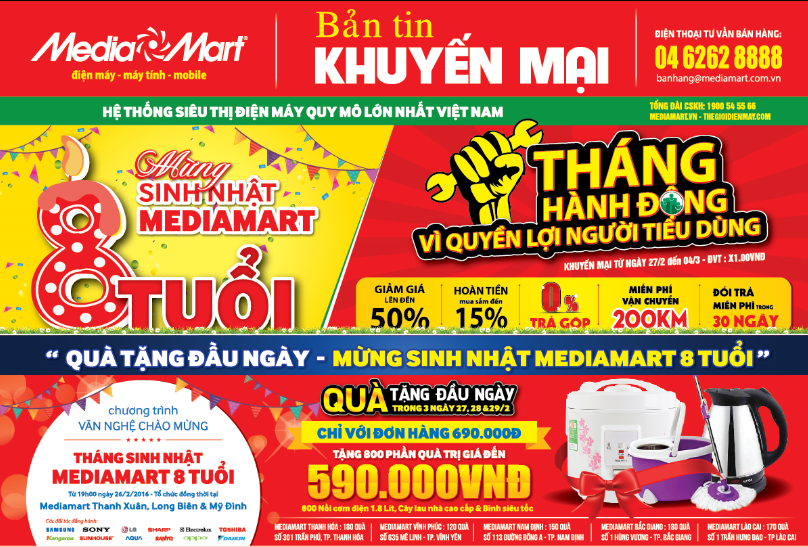 8000 sản phẩm điện máy sập giá sốc – Mừng sinh nhật MediaMart 8 tuổi