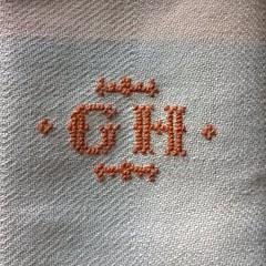 Monogrammed hand woven kitchen towel (Cross-stitch ninja) Tags: crossstitch handmade monogram embroidery crafts heirloom