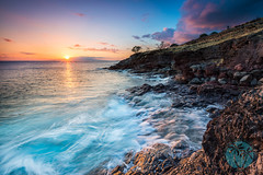 Sunset at the Pali Lookout, Maui (brandon.vincent) Tags: ocean sunset color beautiful rock clouds canon wow hawaii lava amazing long exposure pacific wave maui filter lee nd gnd