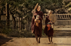 Fans and smiles (Saint-Exupery) Tags: leica candid burma monks myanmar monjes robado birmania