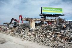 Great loans for great people (Andy Marfia) Tags: road bridge chicago concrete iso100 closed steel overpass demolition cardboard machines f8 westernave rubble belmontave roscoevillage riverviewpark 1400sec d7100 1685mm