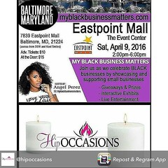 Repost from @hipoccasions using @RepostRegramApp - #HipOccasions Will Be A #Vendor @myblackbusinessmatters #MBBM #EastPointMall #Baltimore #TheEventCenter #Maryland #Expo #BlackBusinesses #BMore #April 9 2016 #WomenInBusiness #SupportSmallBusinesses What (blackownedhair) Tags: black hair support marcus think philippines business owned be buy filipinos koreans garvey salons philipeno madali
