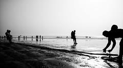 ||Fishing|| (SouvikMetiaPhotography) Tags: morning people blackandwhite india man beach monochrome landscape fishing fisherman sand nikon asia flickr documentary dailylife silhouti