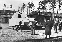 """Ferdinand Porsche (back to camera in hat) watches the first check out """"MAUS"""" or rather its prototype."""