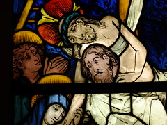 Being Lowered from the Cross (failing_angel) Tags: usa newyork manhattan 5thavenue stainedglass crucifixion metropolitanmuseumofart 290515