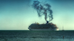 Carnival Dream (Exhaust Plume) (emptyseas) Tags: ocean cruise carnival sea usa sun west beach water sunshine landscape coast boat seaside nikon key ship diesel florida fort outdoor dream atlantic shore taylor vehicle zachary sunbathers exhaust d800 emptyseas
