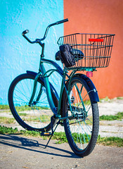 Bike Two-Tone (AceOfKnaves) Tags: blue red beach bike bicycle cycling basket commuter leisure cruiser freebird roadmaster twotone