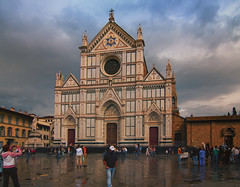 Basilica di Santa Croce (Sorin Popovich) Tags: italy church rain architecture clouds square outdoors florence europe cathedral basilica gothic tuscany firenze christianity toscana renaissance façade romancatholic santacroce gothicrevival famousplaces franciscanchurch basilicadisantacroce