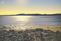Sunset Stroll (fuTuRe Photography by Scott Mc Clintock) Tags: life blue ireland sunset sea summer sun love beach nature beautiful yellow vintage walking landscape spring sand couple rocks warm natural naturallight together fade matte donegal roi naturephotography buncrana landscapephotography porthaw