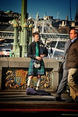 Piper on Westminster Bridge (gary8345) Tags: london westminster piper bagpiper westminsterbridge 2016 londonist snapseed